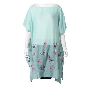Mint Polyester Butterfly Scoop Neck Poncho